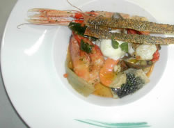 Mediterranean fish soup with Garda Montecroce Oil ice-cream